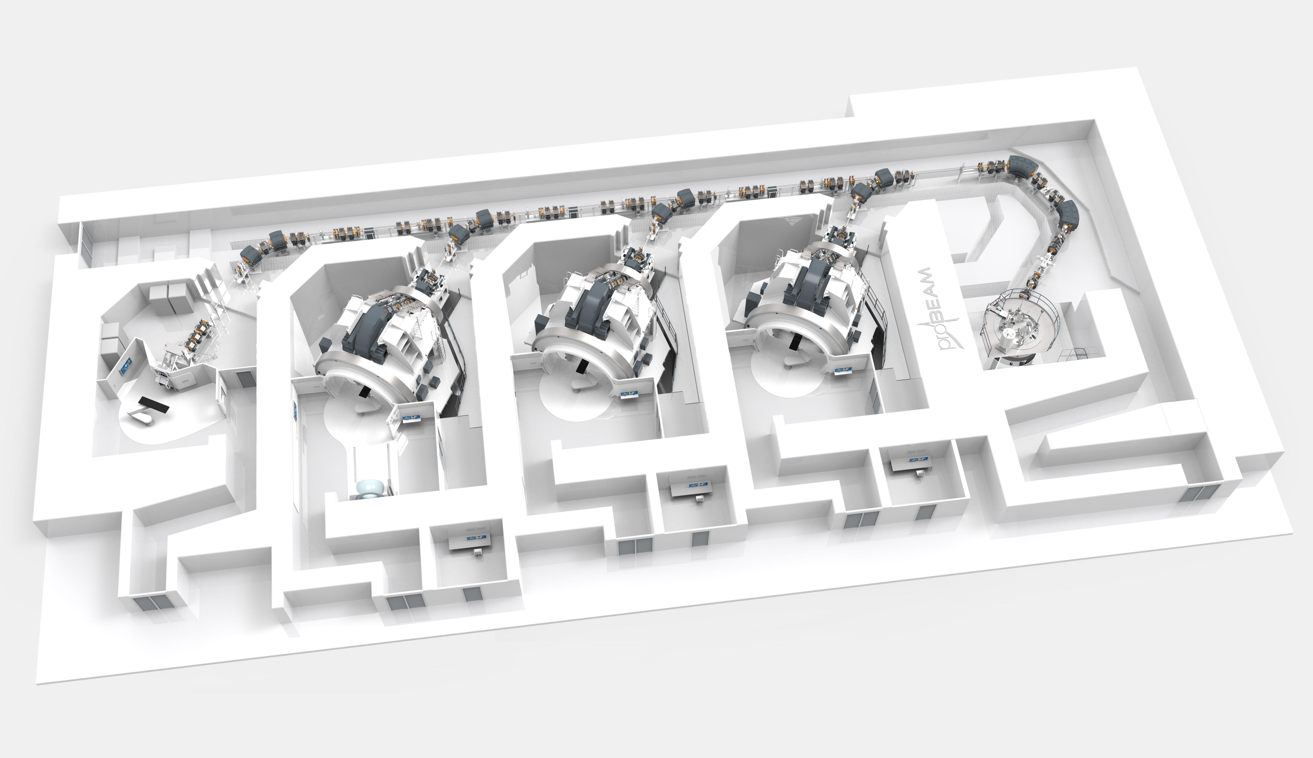 Partikelterapi er en ny og skånsom form for strålebehandling af kræft der nu introduceres i Danmark: i 2018 indvies en proton-kanon-facilitet ved Aarhus Universitetshospital i Skejby ved Aarhus. Til højre på tegningen, i sin velafskærmede betonhule, ses den superledende cirkulære maskine som accelererer protonerne, cyklotronen. Man kan følge protonernes vej gennem strålerør. I de tre midterste rum placeres patienterne i et robotstyret patientleje. Helt til venstre ses et eksperimentelt rum til forskning.