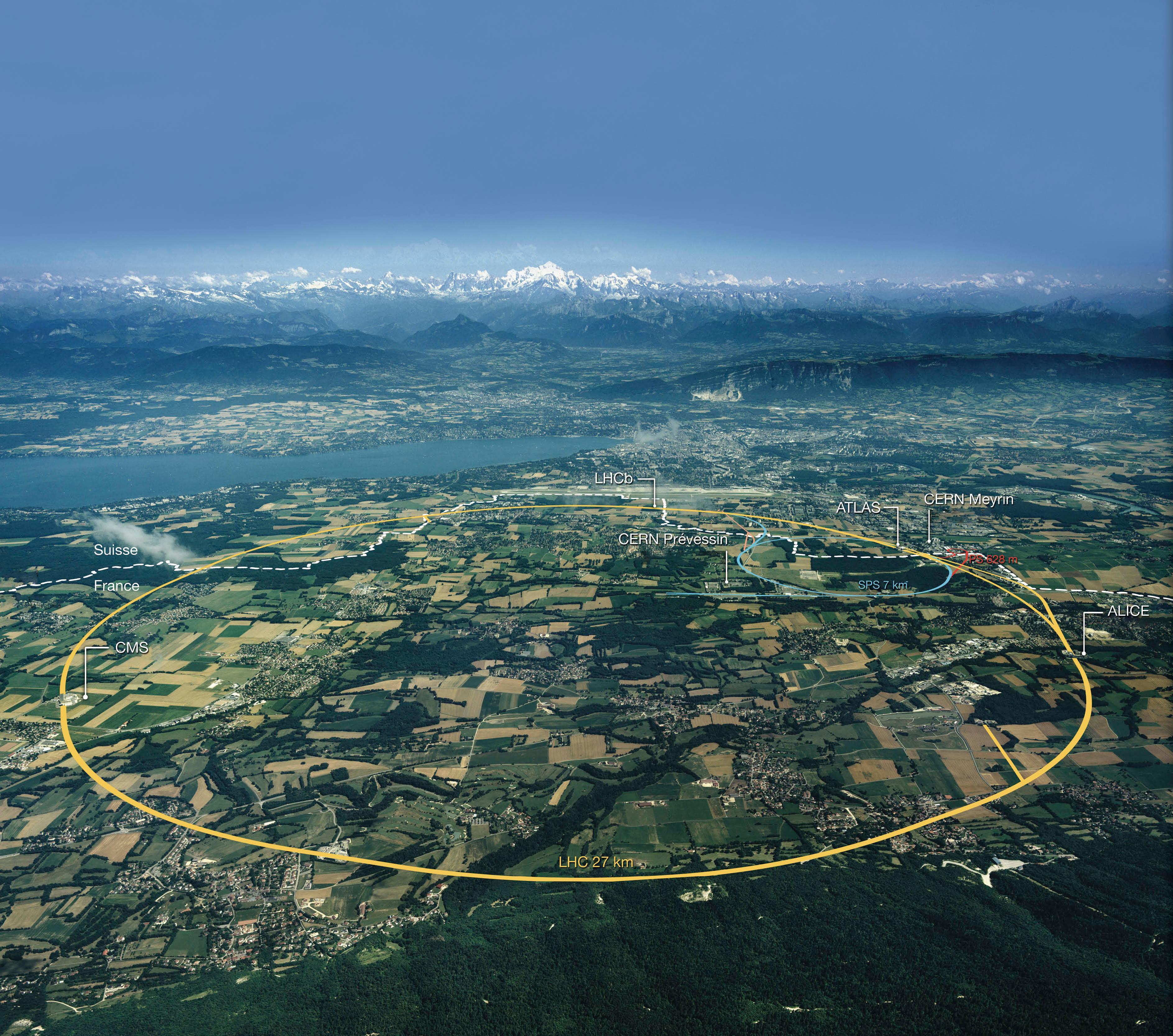Luftfoto af området omkring det europæiske partikelforskningscenter CERN med Genève og udløbet af Lac Leman-søen til venstre og Mont Blanc i baggrunden. Grænsen mellem Schweiz og Frankrig er angivet med den stiplede linje. Verdens største accelerator, LHC-acceleratoren, ligger langs den gule linje 50-150 m under jorden i en 27 km lang tunnel. | Foto: CERN.