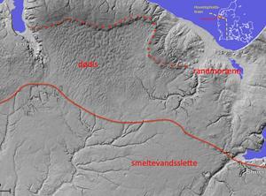 Udsnit af det ikoniske landskab omkring gletsjernes hovedopholdslinje i Jylland. Nye landkort med detaljerede terrænhøjder viser præcist hvor isranden stod under den sidste istids maksimale udbredelse.