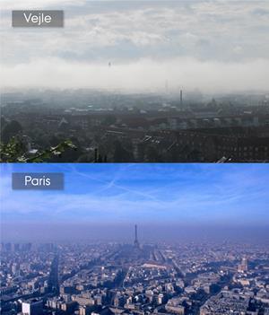 Under særlige meteorologiske forhold kan man med det blotte øje tydeligt se luftforureningen i vores byer. Det sker når varmere luft højere oppe i atmosfæren lægger sig som en dyne over den koldere, forurenede luft ved jordoverfladen. Fænomenet kaldes inversion da temperaturen øges med højden i stedet for at mindskes. Inversionen holder på tågen, forurenende partikler og gasser da de nedre luftlag ikke bliver udskiftet med frisk luft fra højere luftlag. Det øverste foto viser en højtryksinversion der ligger et låg over Vejle by og ådal. Under det ses et foto fra juni måned, 2018, hvor luftforureningen over Paris blev så voldsom at man måtte lukke den mest trafikerede færdselsåre – Rive Droite – gennem Paris for al trafik. (Fotos: Torben Sigsgaard og Isabella Annesi-Maesano)