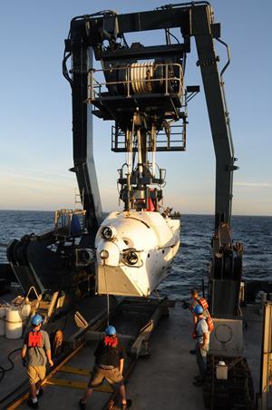 Forskningsubåden ALVIN søsættes i den Californiske Golf med pilot og forskere om bord. (Foto: Bo Barker Jørgensen)